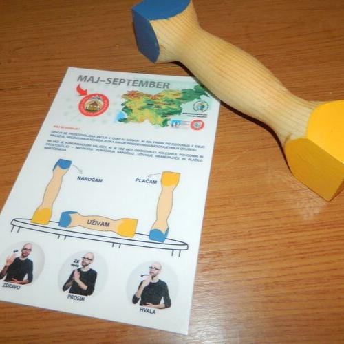 Na sliki komunikacijski valjček z razlago uporabe položajev naročam, uživam, plačam, foto arhiv GSPK