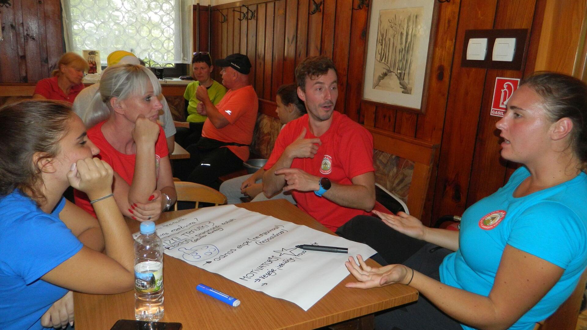Na sliki prostovoljci sedijo za mizo in načrtujejo, foto arhiv GSPK